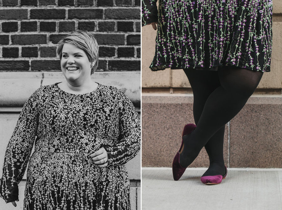 black and white photo of bride to be in downtown columbus