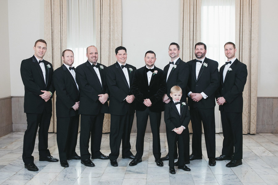 groom and groomsmen inside the westin ballroom