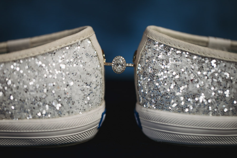 brides engagement ring with sparkly shoes
