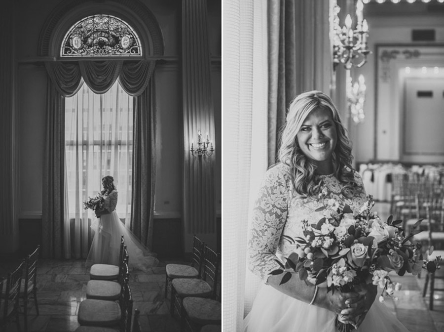 black and white photos of bride in ballroom