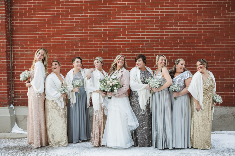 laughing photo of bride with bridesmaids