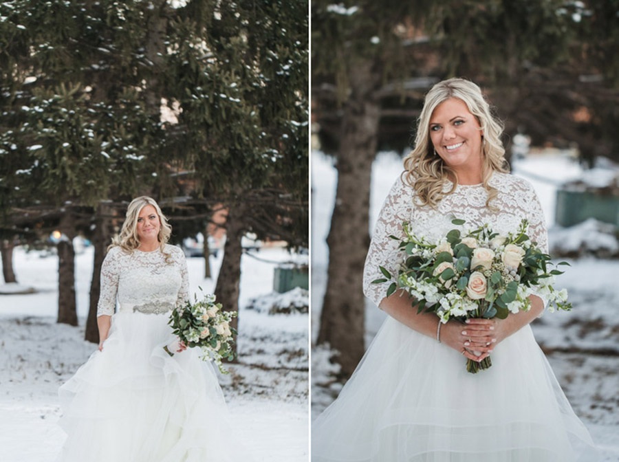 bride in snow with pine trees at the westin