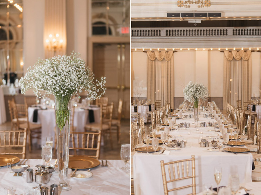 tall vases with baby's breath