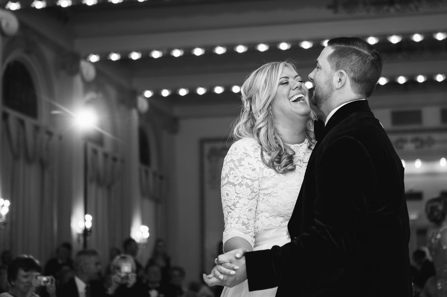 couple laughing during first dance