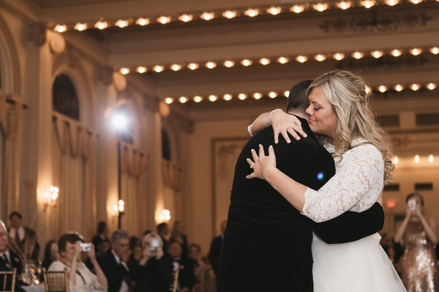married couple hugging during first dance