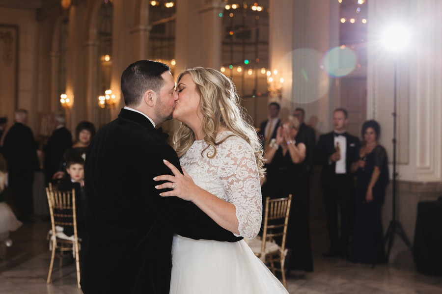 couple kissing during first dance at the westin
