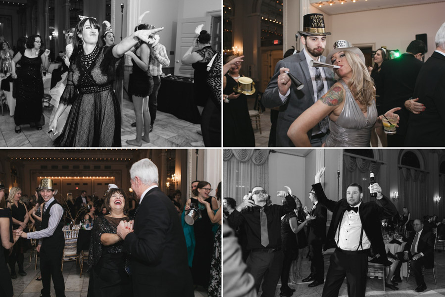 guests dancing at new years eve wedding