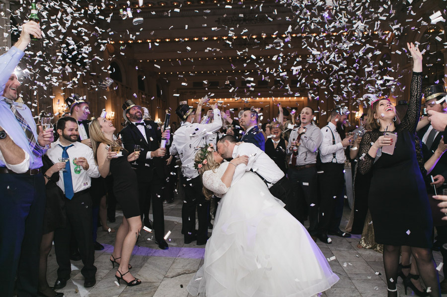 confetti drop at mightnight for new year's eve wedding