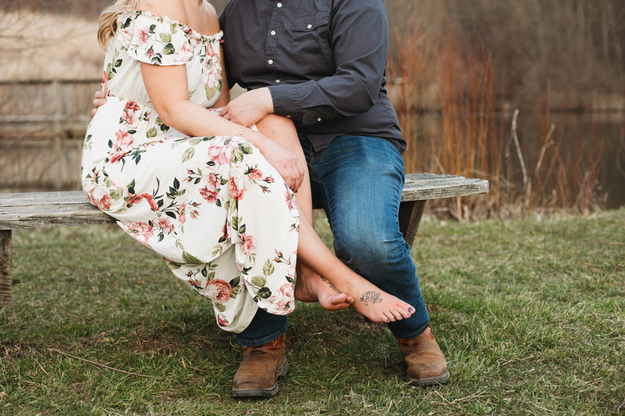 barefoot bride at engagement in mansfield ohio