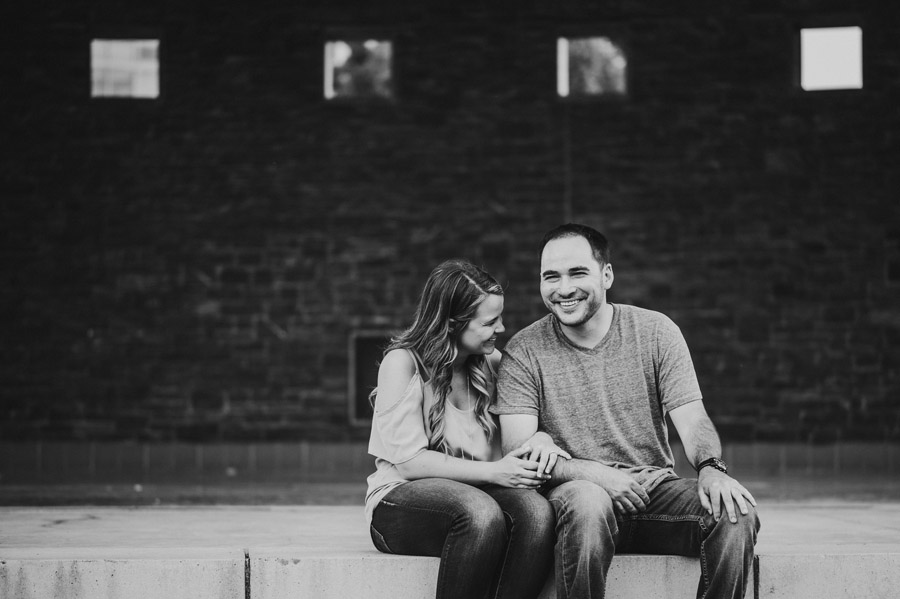 engaged couple laughing at bicentennial park scioto mile