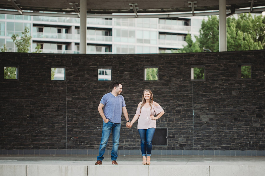 engaged couple at bicentennial park