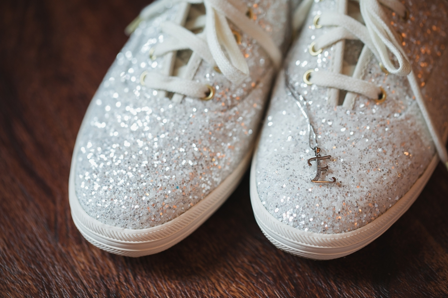 brides jewelry on sparkle keds shoes
