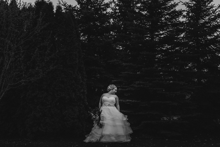 black and white photo of bride at the Club at Corazon wedding