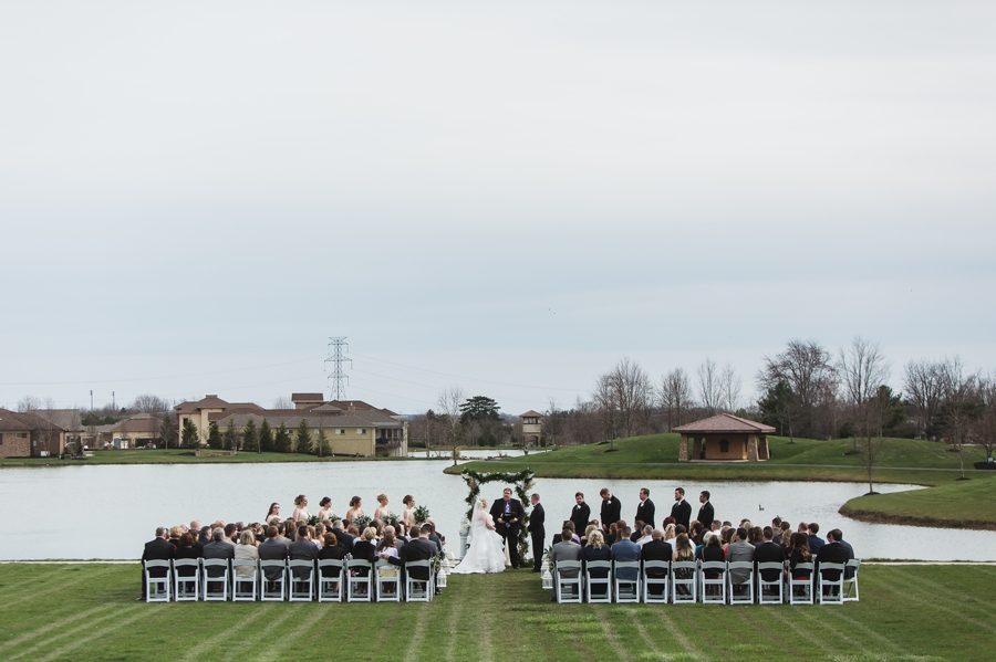 wide photo of lake side ceremony in columbus ohio