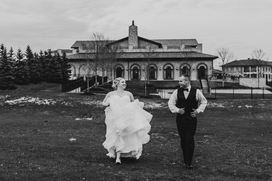 bride and groom running together at club at corazon wedding