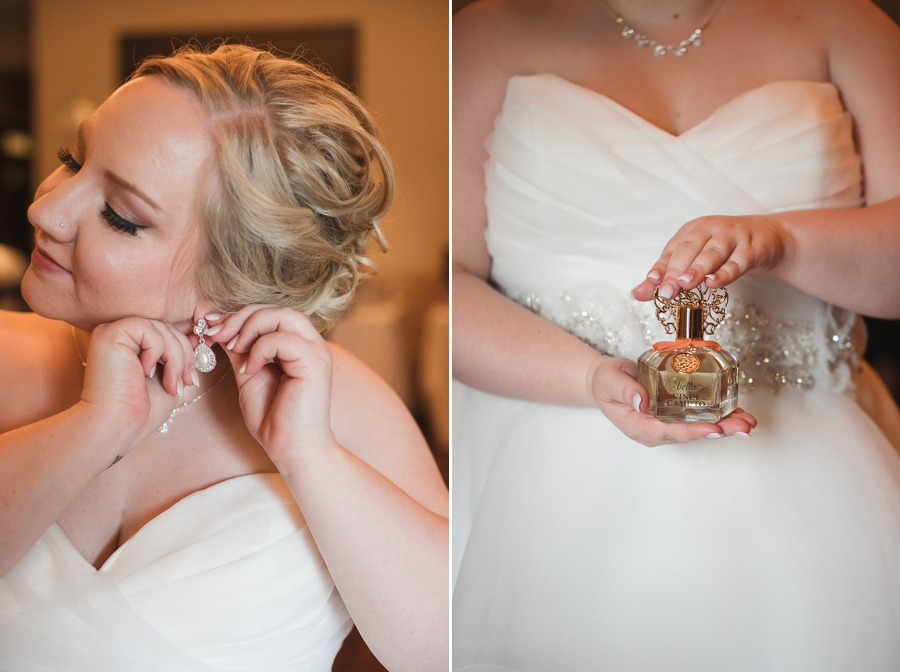 bride putting on earrings at the Club at Corazon wedding