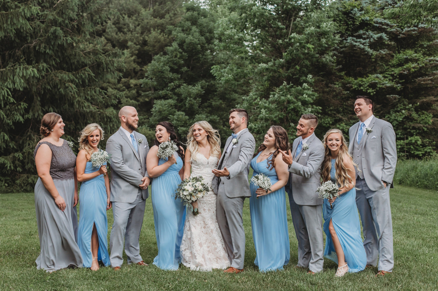 laughing candid photo of wedding party