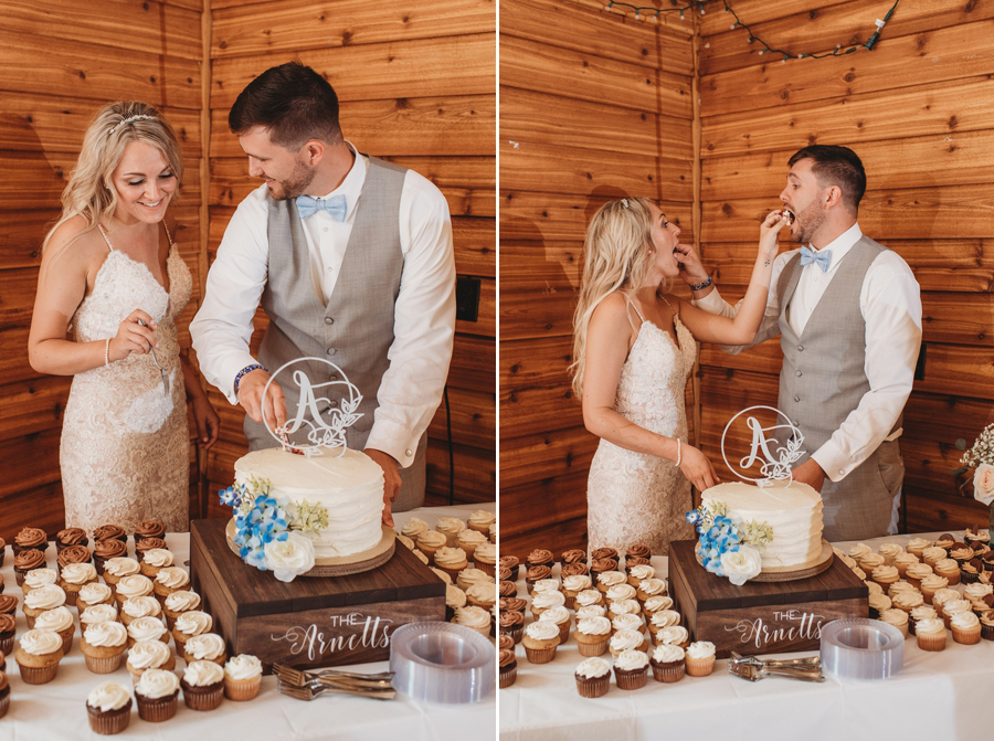 married couple cutting the cake at reception