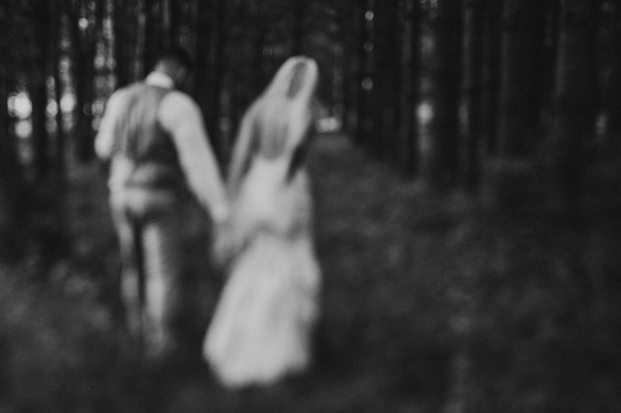 black and white out of focus photo of couple at Pine Lodge Wedding