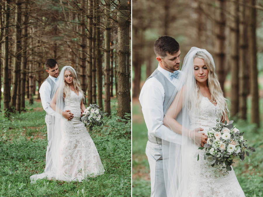 married couple in the woods at Pine Lodge Wedding