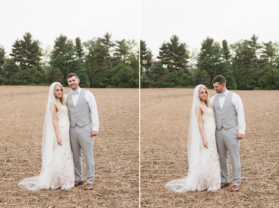 married couple at Pine Lodge wedding in a field