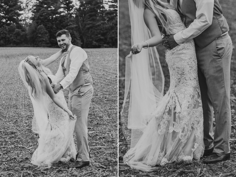 black and white photo of couple dancing in a field at Pine Lodge Wedding