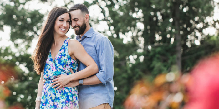 colorful image of engaged couple laughing
