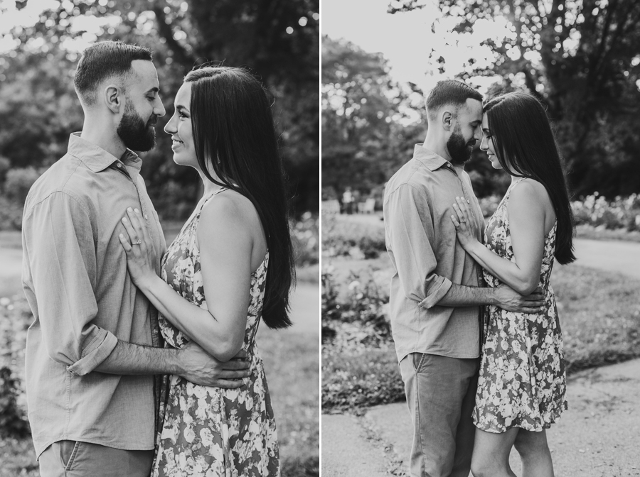 black and white photo of engaged couple at Park of Roses in Columbus, Ohio