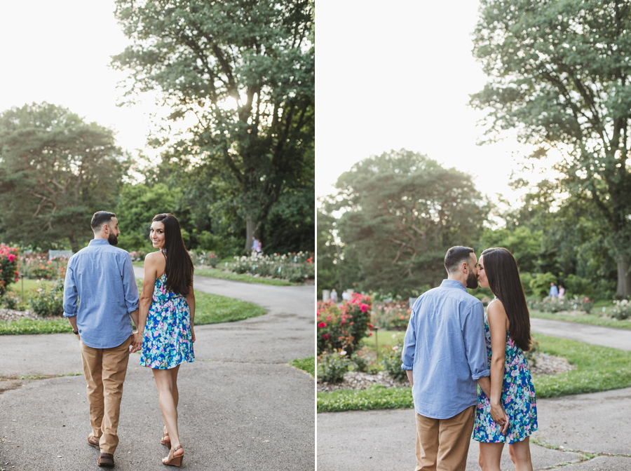 engaged couple walking at Park of Roses