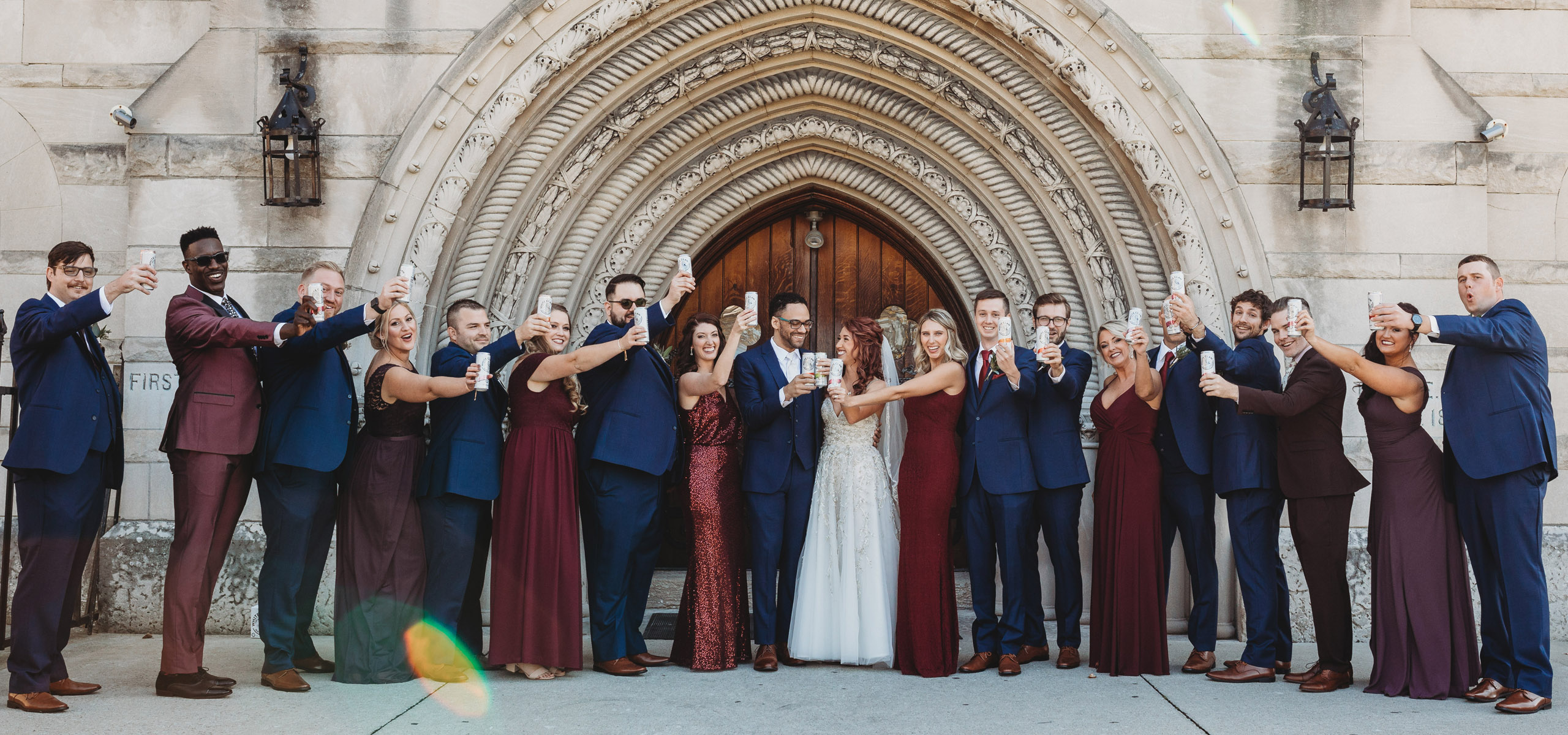 bridal party with white claws Columbus Wedding Photographer